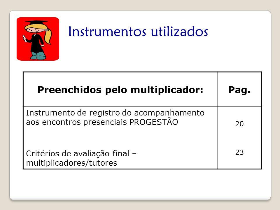 Instrumentos utilizados Preenchidos pelo multiplicador:Pag. Instrumento de registro do acompanhamento aos encontros presenciais PROGESTÃO Critérios de