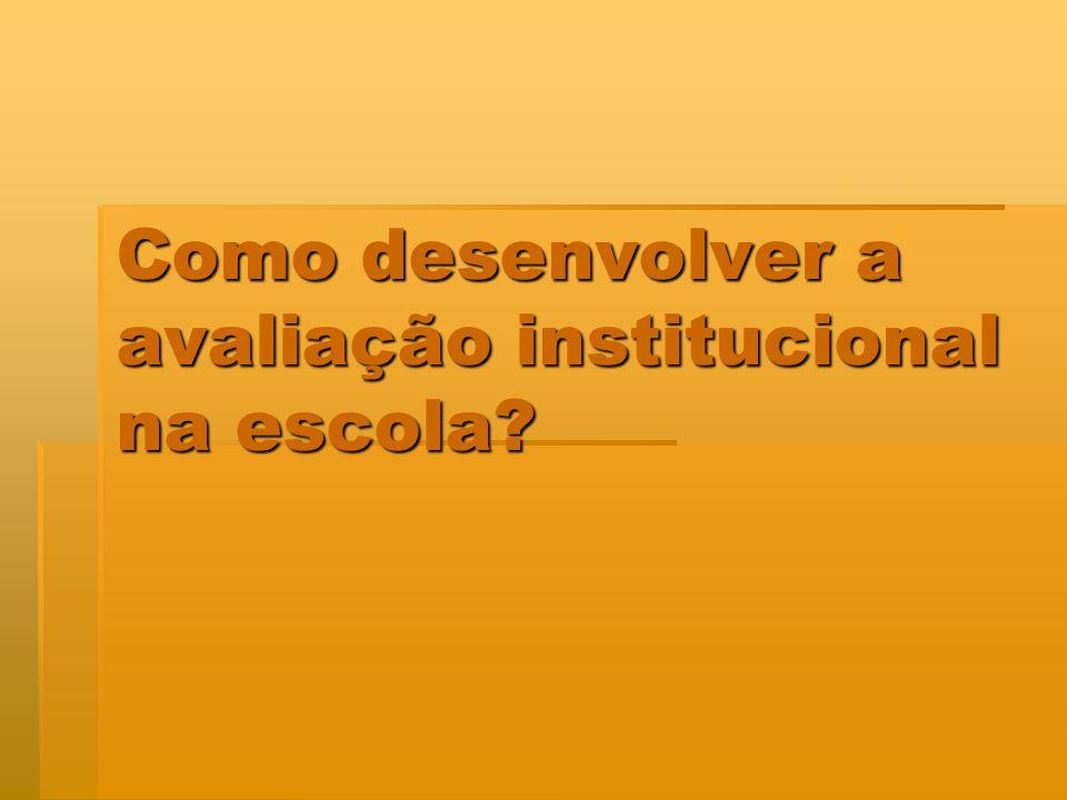 IDÉIAS BÁSICAS DO MÓDULO IX - COMO DESENVOVER A AVALIAÇÃO INSTITUCIONAL NA ESCOLA