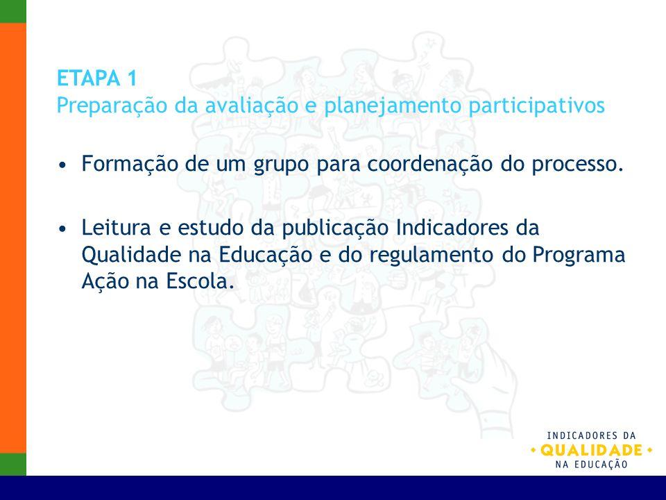 ETAPA 1 Preparação da avaliação e planejamento participativos Formação de um grupo para coordenação do processo. Leitura e estudo da publicação Indica
