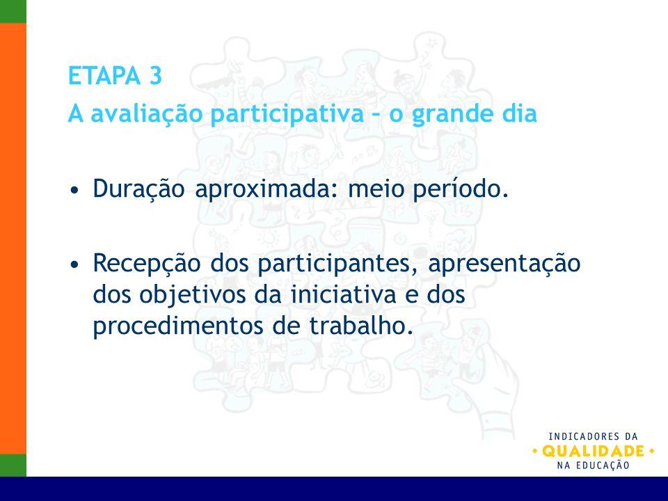ETAPA 3 A avaliação participativa – o grande dia Duração aproximada: meio período. Recepção dos participantes, apresentação dos objetivos da iniciativ