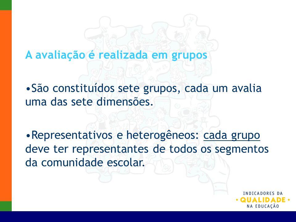 A avaliação é realizada em grupos São constituídos sete grupos, cada um avalia uma das sete dimensões. Representativos e heterogêneos: cada grupo deve