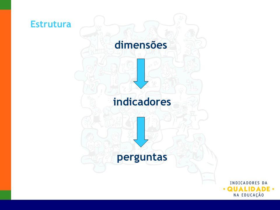 Estrutura dimensões indicadores perguntas