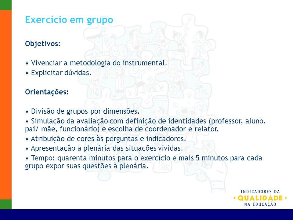 Exercício em grupo Objetivos: Vivenciar a metodologia do instrumental. Explicitar dúvidas. Orientações: Divisão de grupos por dimensões. Simulação da