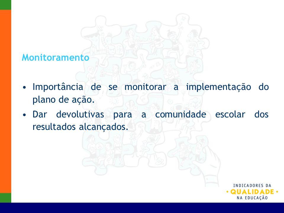 Monitoramento Importância de se monitorar a implementação do plano de ação. Dar devolutivas para a comunidade escolar dos resultados alcançados.