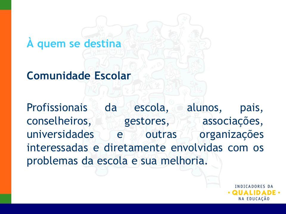 À quem se destina Comunidade Escolar Profissionais da escola, alunos, pais, conselheiros, gestores, associações, universidades e outras organizações i