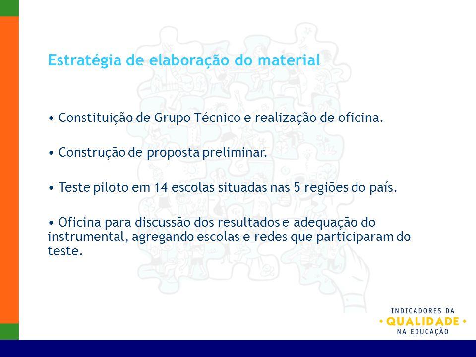 Estratégia de elaboração do material Constituição de Grupo Técnico e realização de oficina. Construção de proposta preliminar. Teste piloto em 14 esco