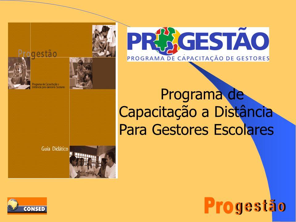 A Opção do Programa VÍNCULO COM A PRÁTICA SEM RENÚNCIA AOS FUNDAMENTOS TEÓRICOS; DESENVOLVIMENTO DE UM PADRÃO DE GESTÃO; APORTE PARA A CONSTRUÇÃO DE UM CONHECIMENTO E DE UMA PRÁTICA SOBRE GESTÃO ESCOLAR; USO DE TECNOLOGIA A DISTÂNCIA COM MATERIAL ATRAENTE PARA QUEM ESTUDA E TRABALHA; ADOÇÃO DE UMA LÓGICA DE APRENDIZAGEM (Estudo Individual, em equipe e encontros presenciais); ALTERNATIVA PARA A FORMAÇÃO CONTINUADA DOS PROFISSIONAS EM SERVIÇO.