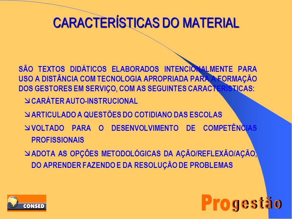 MATERIAL DO CURSISTA Parceria MEC / CONSED /ESTADO. Kit com 10 Módulos + Guia Didático + Guia Estadual do PROGESTÃO