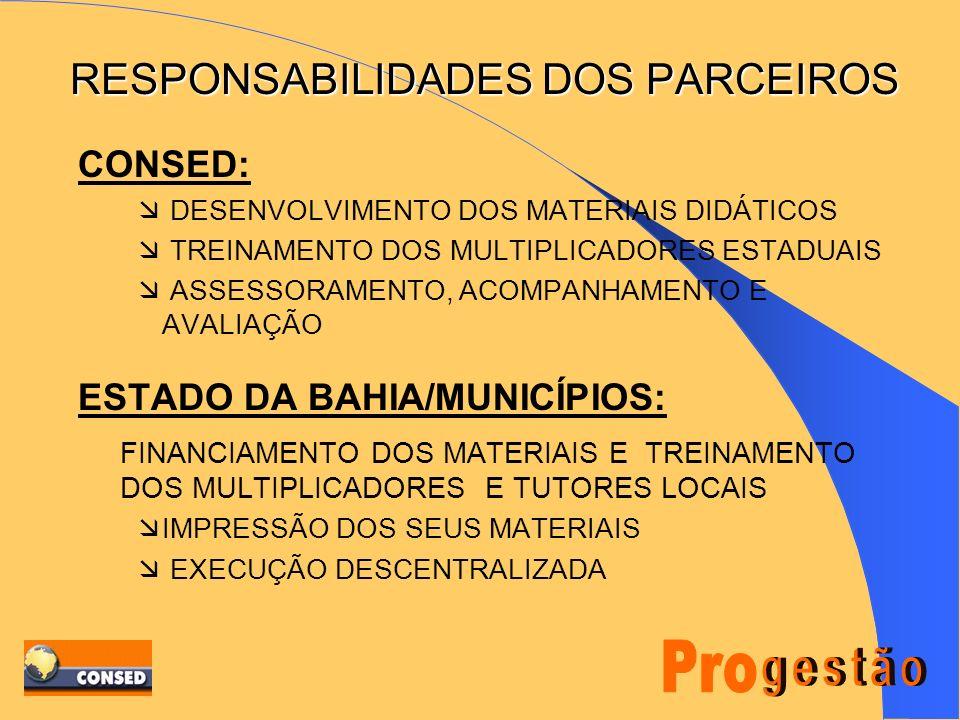 RESPONSABILIDADES DOS PARCEIROS CONSED: DESENVOLVIMENTO DOS MATERIAIS DIDÁTICOS TREINAMENTO DOS MULTIPLICADORES ESTADUAIS ASSESSORAMENTO, ACOMPANHAMENTO E AVALIAÇÃO ESTADO DA BAHIA/MUNICÍPIOS: FINANCIAMENTO DOS MATERIAIS E TREINAMENTO DOS MULTIPLICADORES E TUTORES LOCAIS IMPRESSÃO DOS SEUS MATERIAIS EXECUÇÃO DESCENTRALIZADA