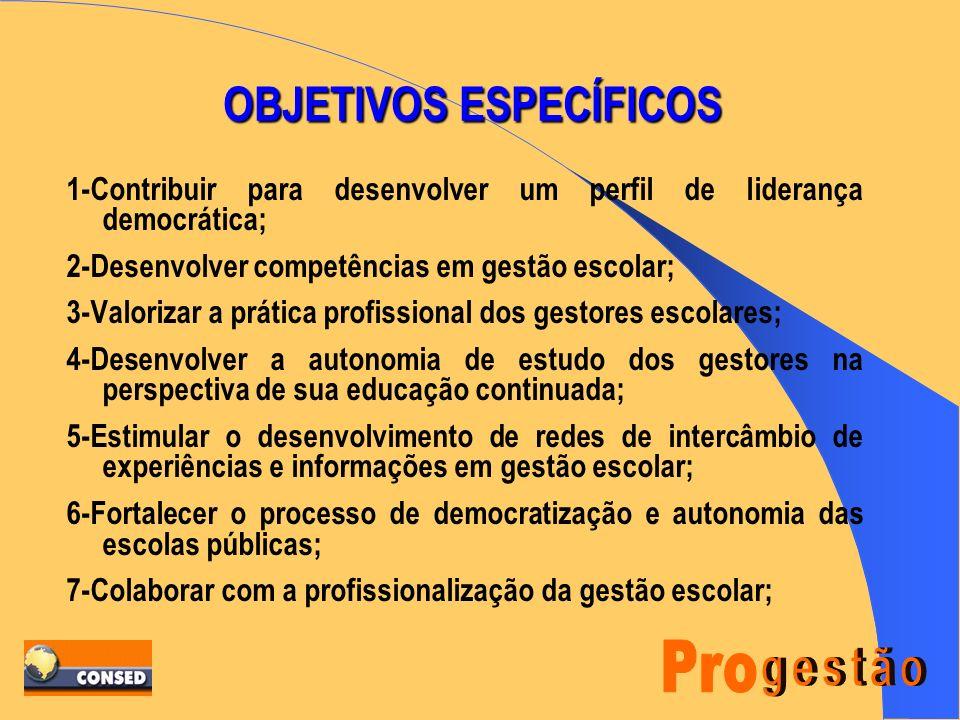 OBJETIVO GERAL FORMAR LIDERANÇAS ESCOLARES COMPROMETIDAS COM A CONSTRUÇÃO DE UM PROJETO DE GESTÃO DEMOCRÁTICA DA ESCOLA PÚBLICA, FOCADA NO SUCESSO ESC