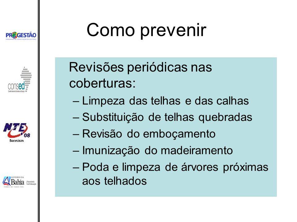 Como prevenir Revisões periódicas nas coberturas: –Limpeza das telhas e das calhas –Substituição de telhas quebradas –Revisão do emboçamento –Imunizaç