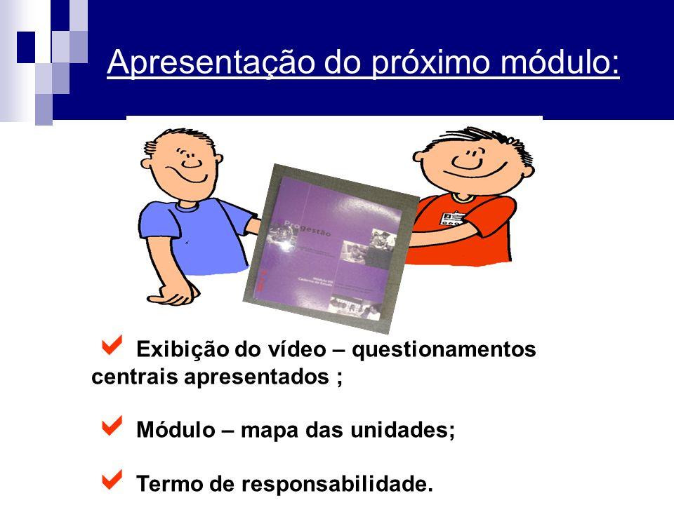 Apresentação do próximo módulo: Exibição do vídeo – questionamentos centrais apresentados ; Módulo – mapa das unidades; Termo de responsabilidade.