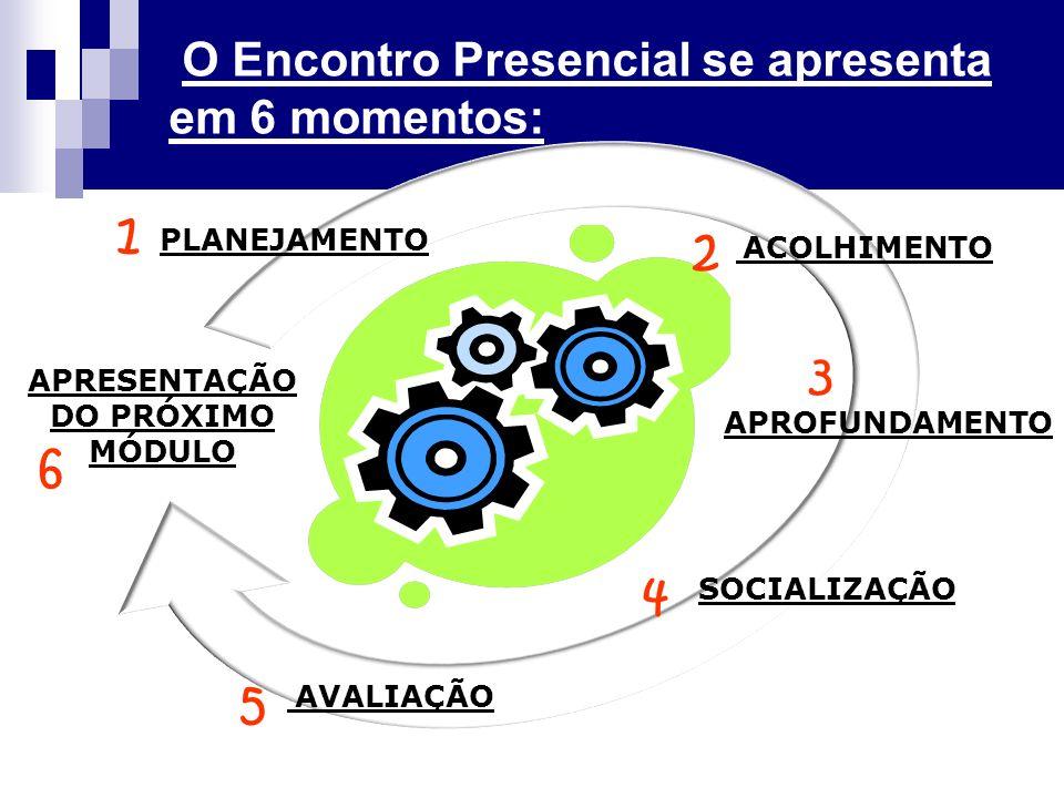 ACOLHIMENTO APROFUNDAMENTO SOCIALIZAÇÃO AVALIAÇÃO APRESENTAÇÃO DO PRÓXIMO MÓDULO PLANEJAMENTO O Encontro Presencial se apresenta em 6 momentos: 1 2 3 4 5 6