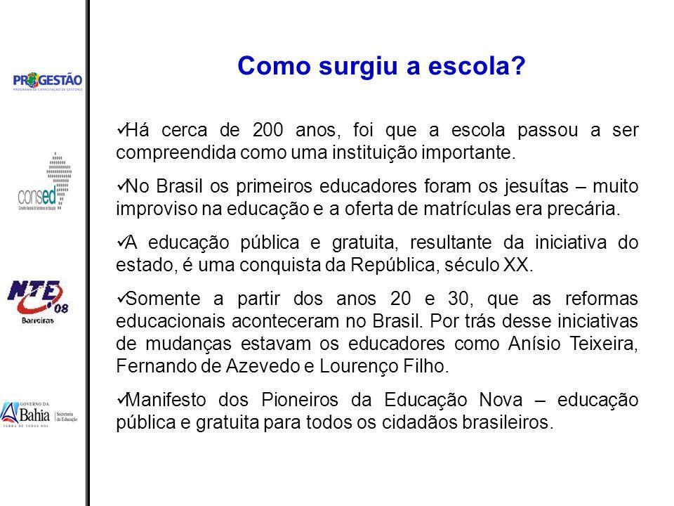 Há cerca de 200 anos, foi que a escola passou a ser compreendida como uma instituição importante. No Brasil os primeiros educadores foram os jesuítas