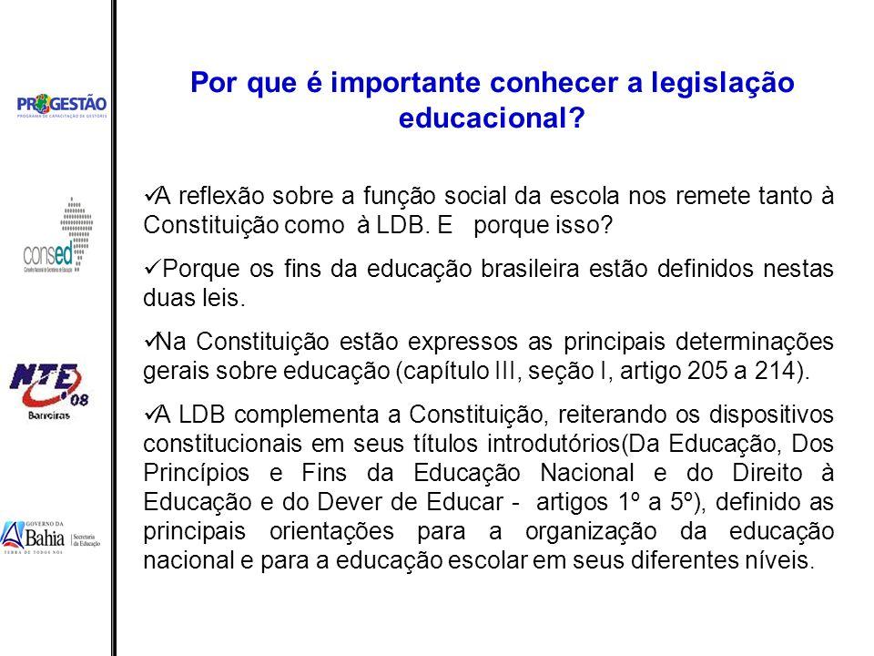 Por que é importante conhecer a legislação educacional? A reflexão sobre a função social da escola nos remete tanto à Constituição como à LDB. E porqu