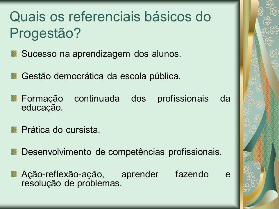 Quais os referenciais básicos do Progestão? Sucesso na aprendizagem dos alunos. Gestão democrática da escola pública. Formação continuada dos profissi