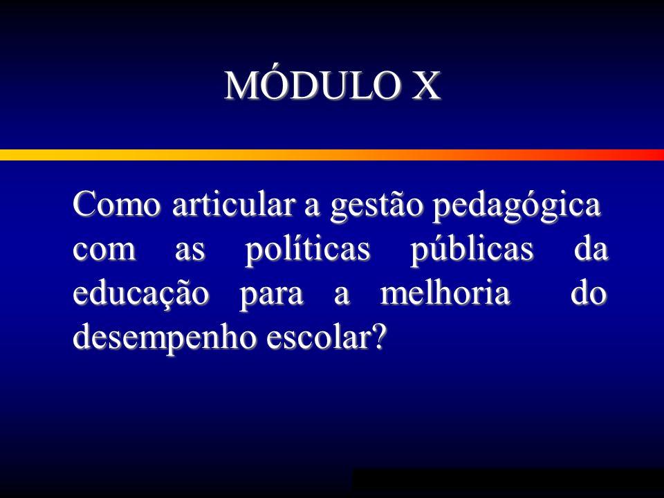 MÓDULO X Como articular a gestão pedagógica com as políticas públicas da educação para a melhoria do desempenho escolar?