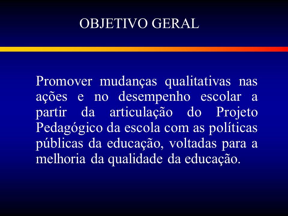 Promover mudanças qualitativas nas ações e no desempenho escolar a partir da articulação do Projeto Pedagógico da escola com as políticas públicas da educação, voltadas para a melhoria da qualidade da educação.