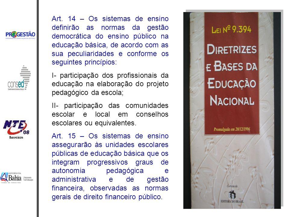 Art. 14 – Os sistemas de ensino definirão as normas da gestão democrática do ensino público na educação básica, de acordo com as sua peculiaridades e