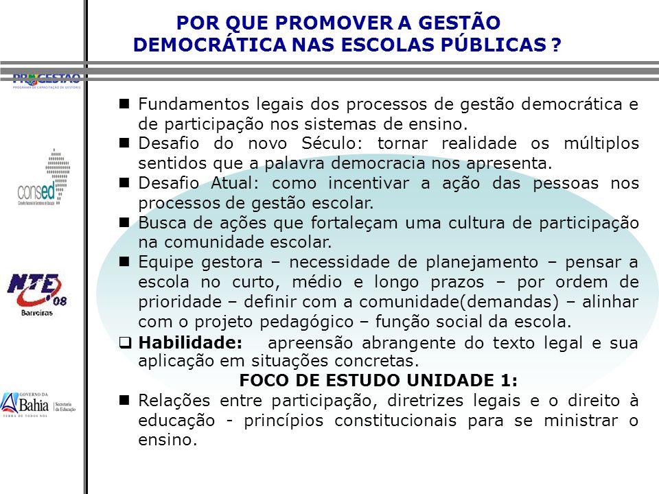POR QUE PROMOVER A GESTÃO DEMOCRÁTICA NAS ESCOLAS PÚBLICAS ? Fundamentos legais dos processos de gestão democrática e de participação nos sistemas de