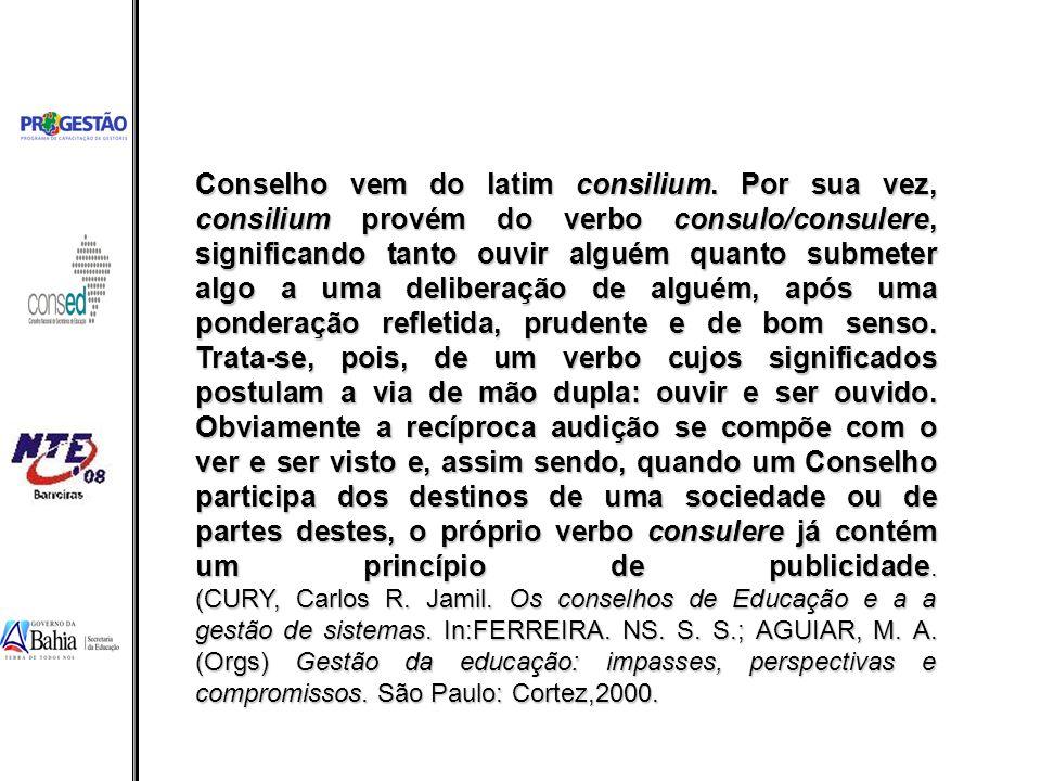 Conselho vem do latim consilium. Por sua vez, consilium provém do verbo consulo/consulere, significando tanto ouvir alguém quanto submeter algo a uma