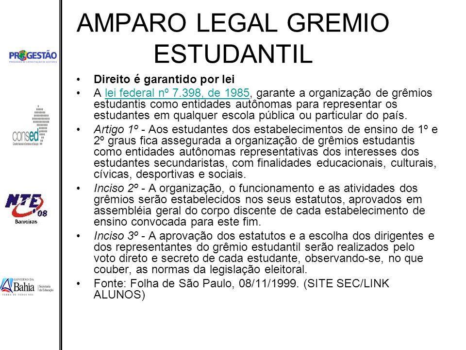 AMPARO LEGAL GREMIO ESTUDANTIL Direito é garantido por lei A lei federal nº 7.398, de 1985, garante a organização de grêmios estudantis como entidades