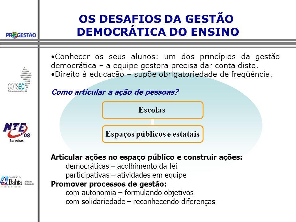 OS DESAFIOS DA GESTÃO DEMOCRÁTICA DO ENSINO Conhecer os seus alunos: um dos princípios da gestão democrática – a equipe gestora precisa dar conta dist