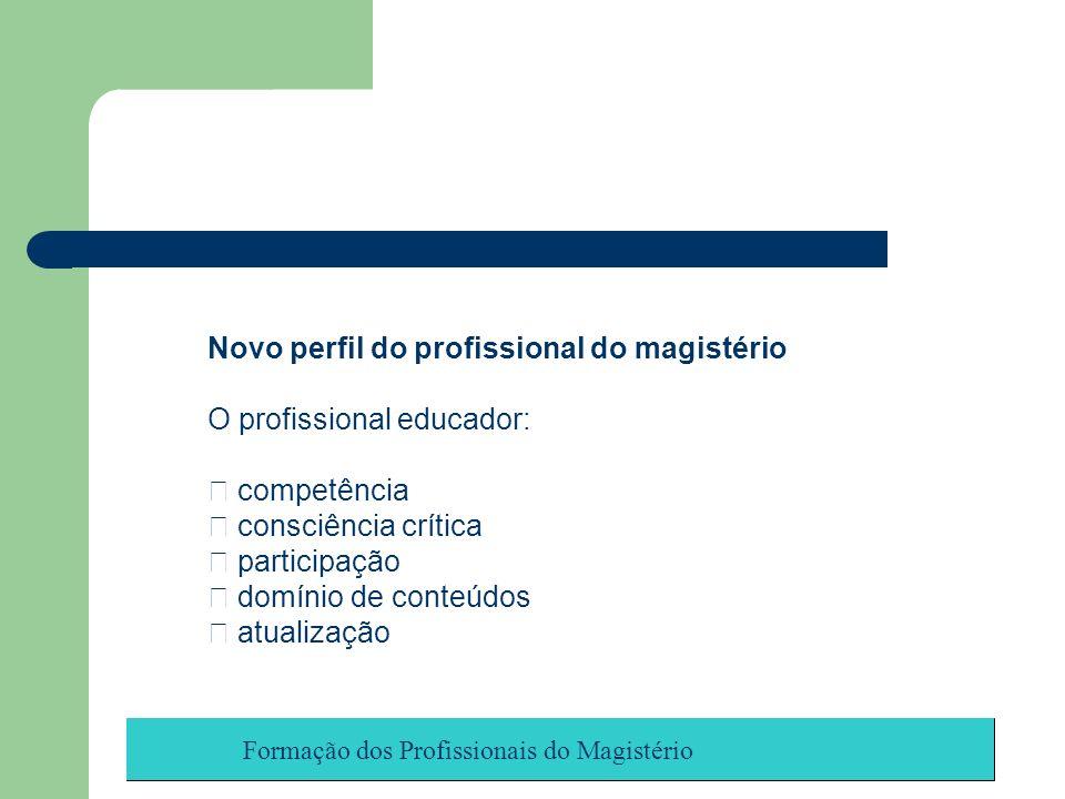Novo perfil do profissional do magistério O profissional educador: competência consciência crítica participação domínio de conteúdos atualização