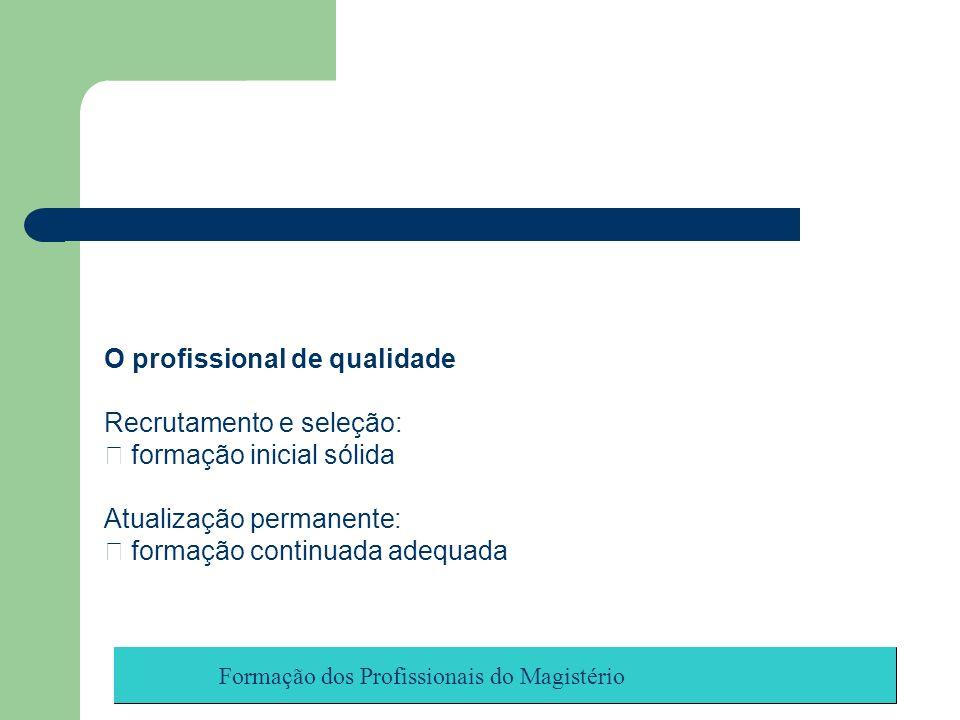 Formação dos Profissionais do Magistério O profissional de qualidade Recrutamento e seleção: formação inicial sólida Atualização permanente: formação