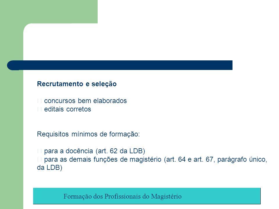 Formação dos Profissionais do Magistério Recrutamento e seleção concursos bem elaborados editais corretos Requisitos mínimos de formação: para a docên