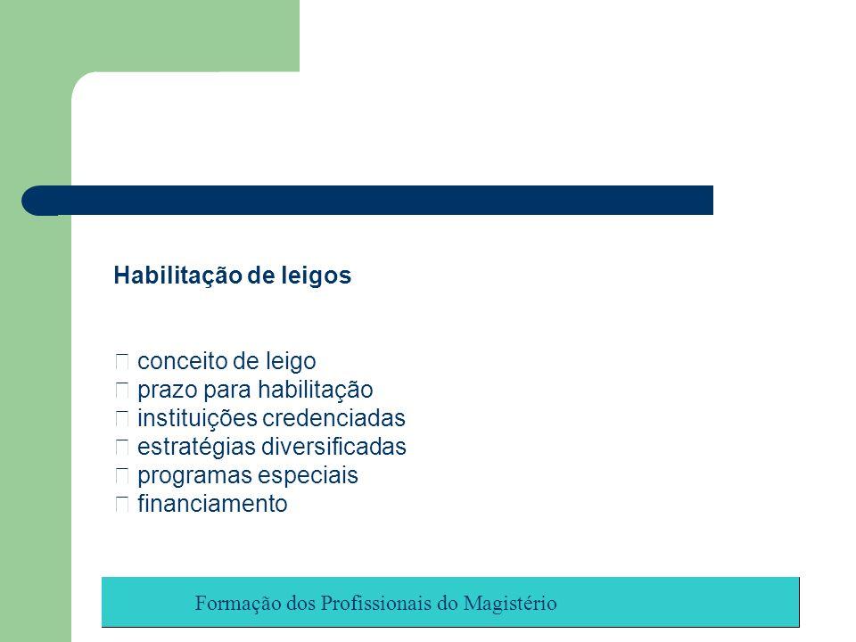 Formação dos Profissionais do Magistério Habilitação de leigos conceito de leigo prazo para habilitação instituições credenciadas estratégias diversif