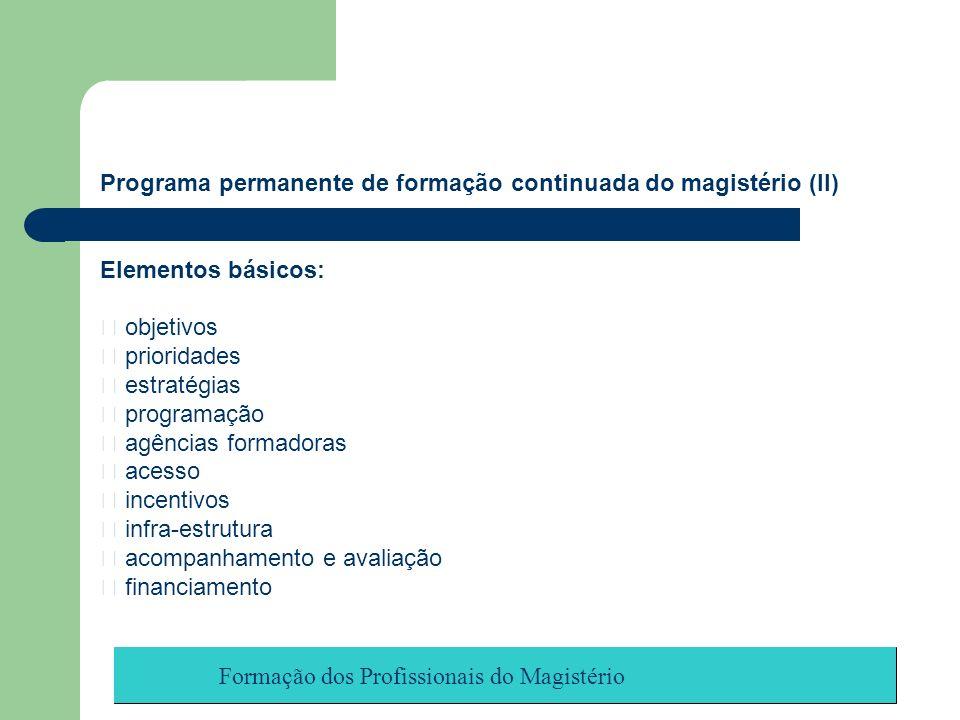 Formação dos Profissionais do Magistério Programa permanente de formação continuada do magistério (II) Elementos básicos: objetivos prioridades estrat
