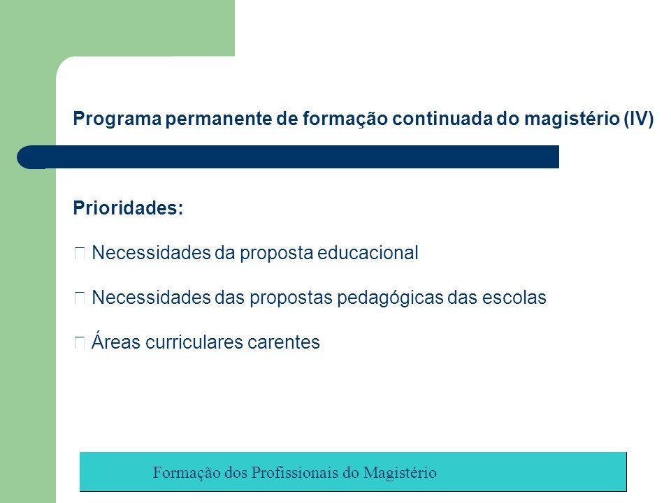 Formação dos Profissionais do Magistério Programa permanente de formação continuada do magistério (IV) Prioridades: Necessidades da proposta educacion