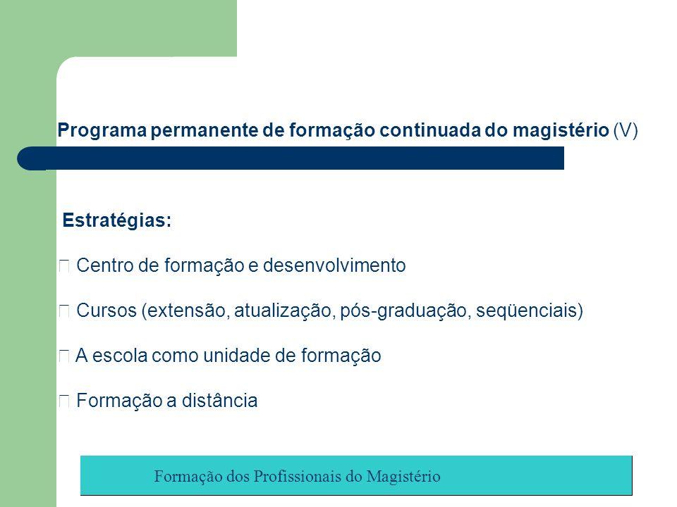 Formação dos Profissionais do Magistério Programa permanente de formação continuada do magistério (V) Estratégias: Centro de formação e desenvolviment