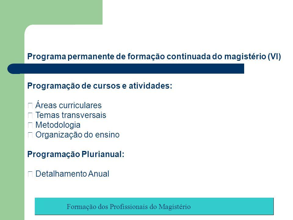 Formação dos Profissionais do Magistério Programa permanente de formação continuada do magistério (VI) Programação de cursos e atividades: Áreas curri
