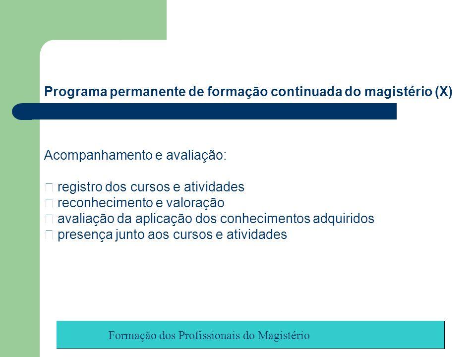 Formação dos Profissionais do Magistério Programa permanente de formação continuada do magistério (X) Acompanhamento e avaliação: registro dos cursos