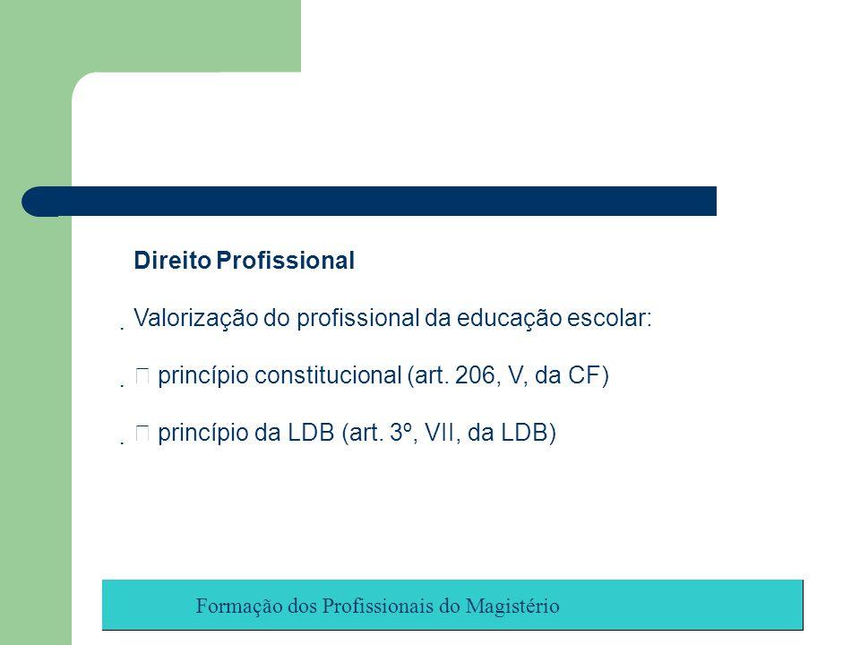 Formação dos Profissionais do Magistério Direito Profissional Valorização do profissional da educação escolar: princípio constitucional (art. 206, V,