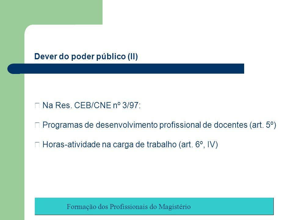 Formação dos Profissionais do Magistério Dever do poder público (II) Na Res. CEB/CNE nº 3/97: Programas de desenvolvimento profissional de docentes (a