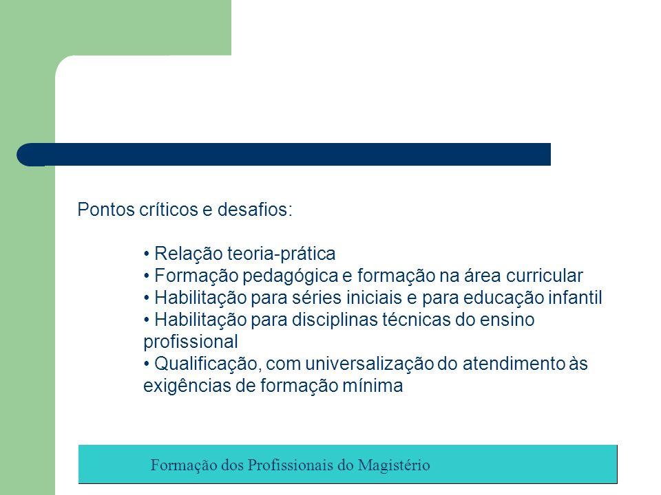 Formação dos Profissionais do Magistério Pontos críticos e desafios: Relação teoria-prática Formação pedagógica e formação na área curricular Habilita