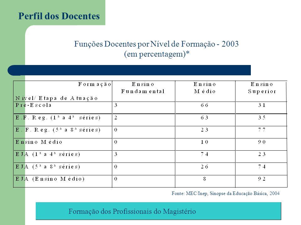 Perfil dos Docentes Funções Docentes por Nível de Formação - 2003 (em percentagem)* Fonte: MEC/Inep, Sinopse da Educação Básica, 2004 Formação dos Pro