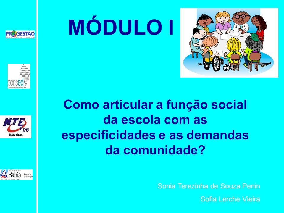 Como articular a função social da escola com as especificidades e as demandas da comunidade? Sonia Terezinha de Souza Penin Sofia Lerche Vieira MÓDULO
