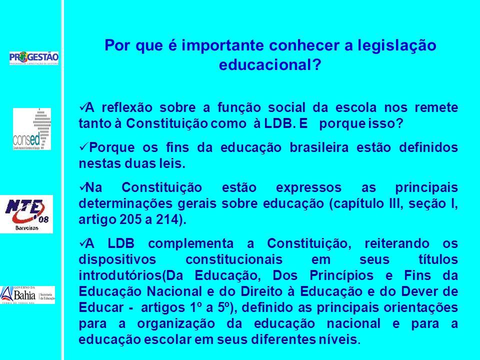 A reflexão sobre a função social da escola nos remete tanto à Constituição como à LDB. E porque isso? Porque os fins da educação brasileira estão defi