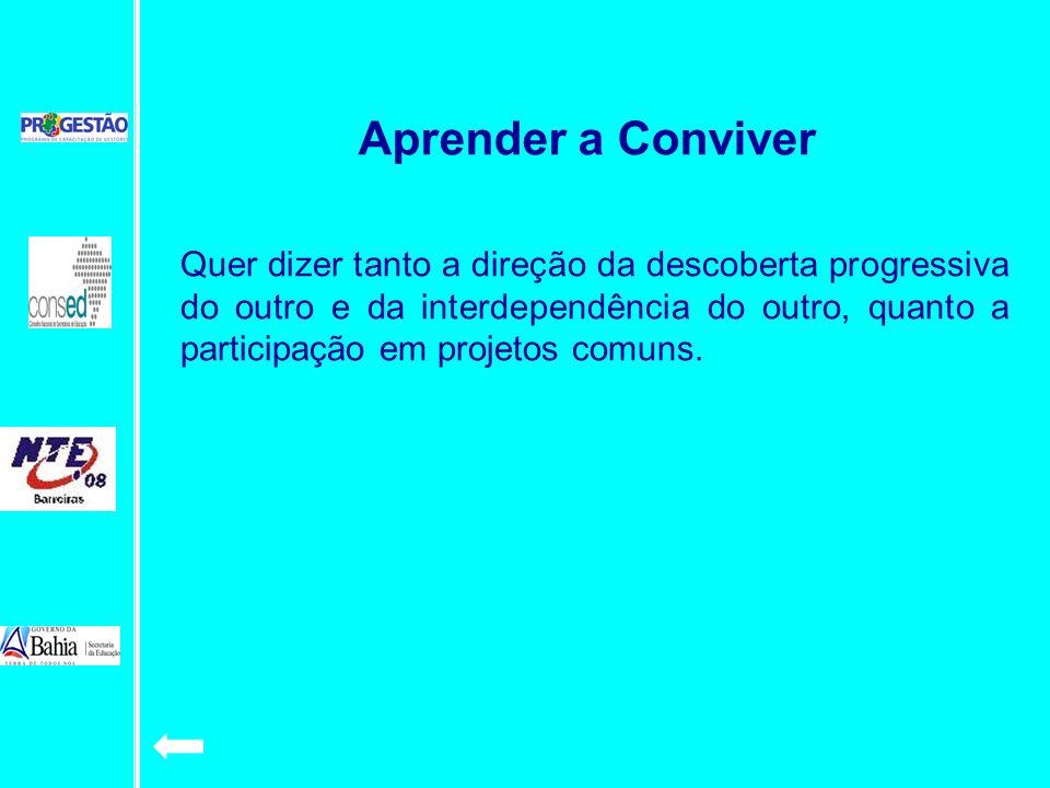 Aprender a Conviver Quer dizer tanto a direção da descoberta progressiva do outro e da interdependência do outro, quanto a participação em projetos co