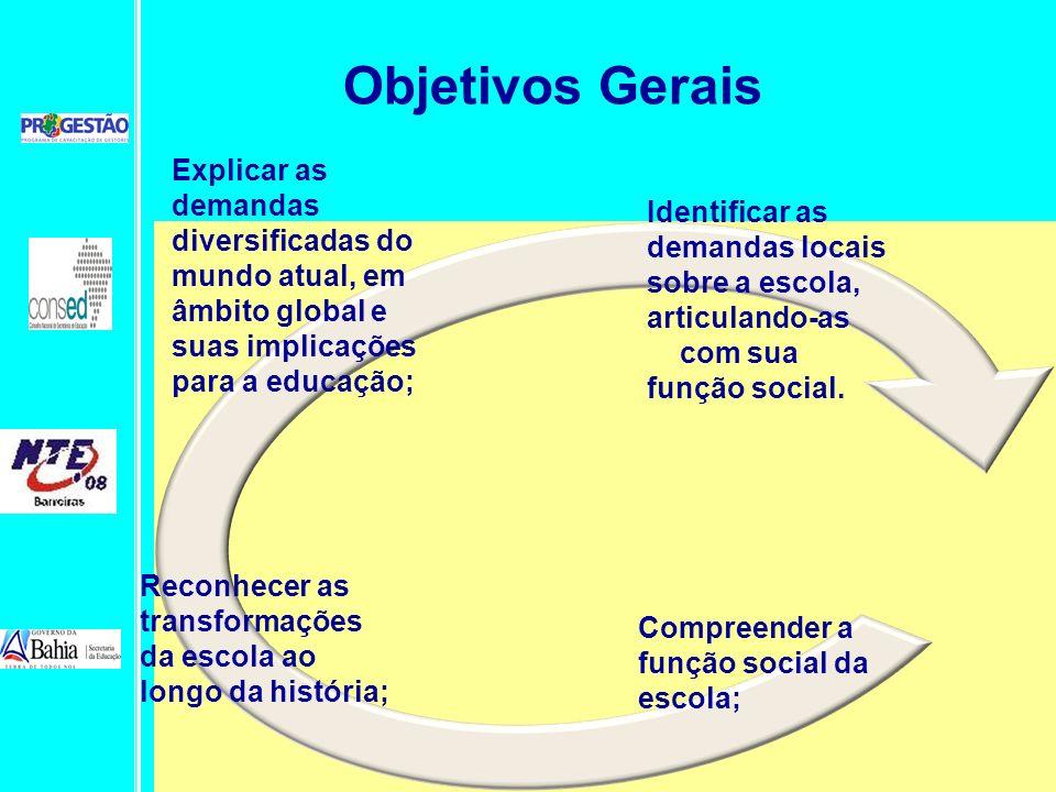 Compreender a função social da escola; Reconhecer as transformações da escola ao longo da história; Explicar as demandas diversificadas do mundo atual
