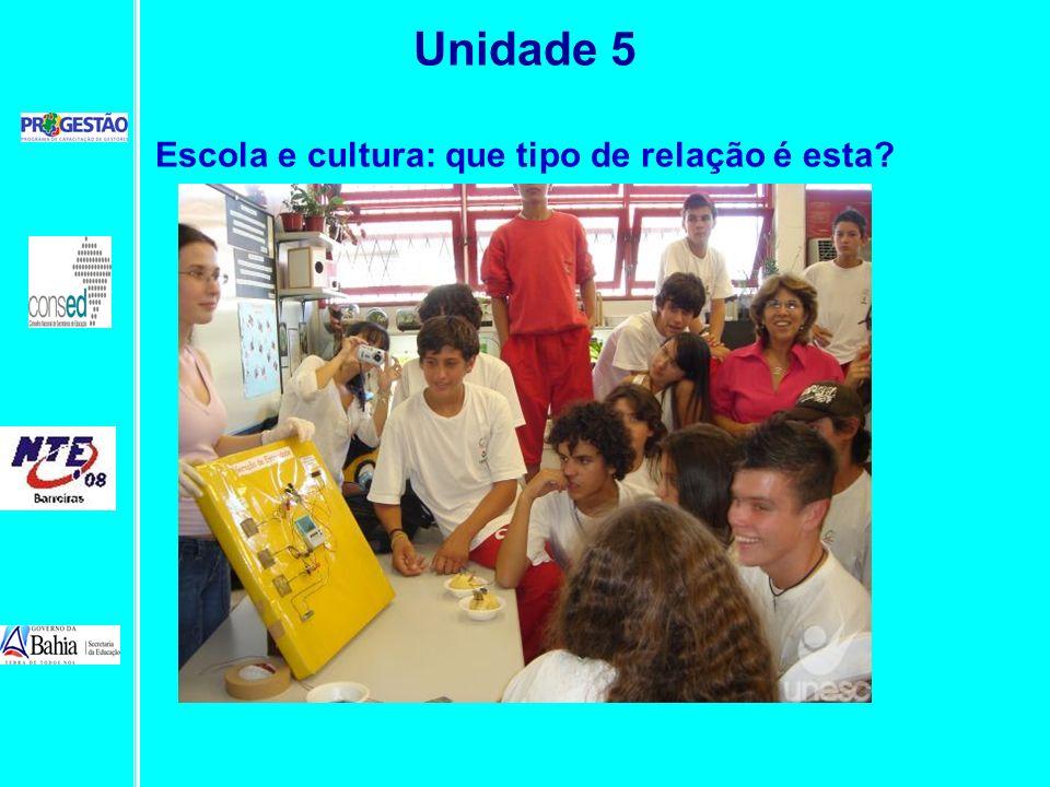 Unidade 5 Escola e cultura: que tipo de relação é esta?