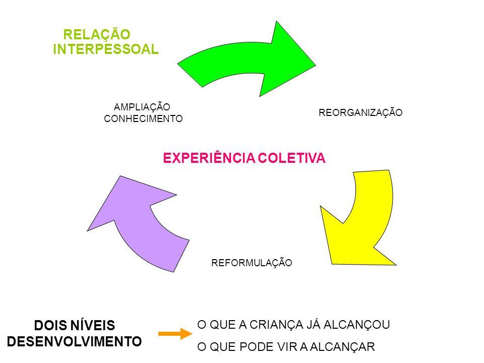 RELAÇÃO INTERPESSOAL REORGANIZAÇÃO REFORMULAÇÃO AMPLIAÇÃO CONHECIMENTO EXPERIÊNCIA COLETIVA DOIS NÍVEIS DESENVOLVIMENTO O QUE A CRIANÇA JÁ ALCANÇOU O