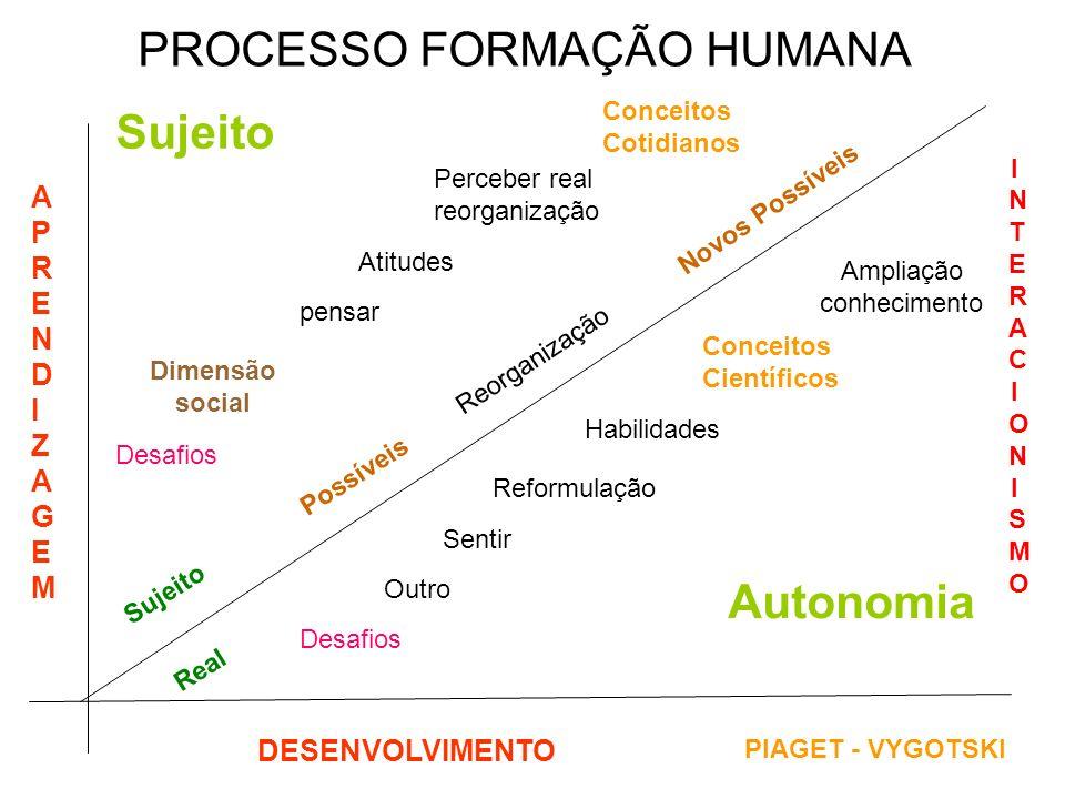 PROCESSO FORMAÇÃO HUMANA APRENDIZAGEMAPRENDIZAGEM DESENVOLVIMENTO Possíveis Dimensão social Desafios Real Desafios Perceber real reorganização Outro S