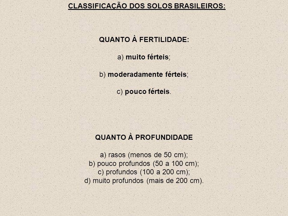 QUANTO À FERTILIDADE: a) muito férteis; b) moderadamente férteis; c) pouco férteis. CLASSIFICAÇÃO DOS SOLOS BRASILEIROS: QUANTO À PROFUNDIDADE a) raso