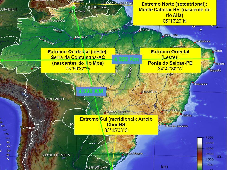 Extremo Norte (setentrional): Monte Caburaí-RR (nascente do rio Ailã) 05°16'20