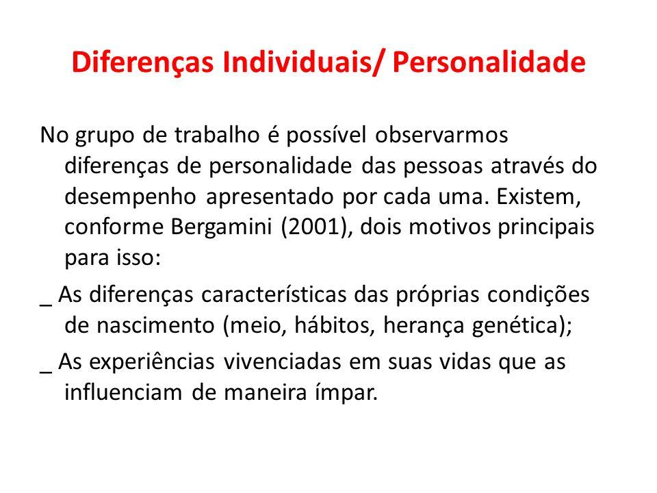 Diferenças Individuais/ Personalidade No grupo de trabalho é possível observarmos diferenças de personalidade das pessoas através do desempenho aprese